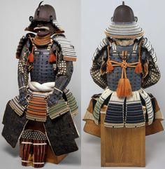 Suji bachi kabuto, hatomune byo-toji yoko-hagi okegawa dou gusoku, kabuto signed Echizan nu Kuni Toyohara Jū Bamen Tomotsugu Saku (Made by Bamen Tomotsugu, residing in Toyohara, Echizen Province [Fukui Prefecture]). Bamen Tomotsugu was the leading armorer of the Bamen School in the eighteenth century. Complete armors signed by him are extremely rare.