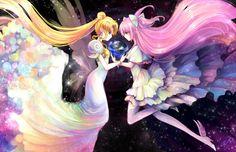 kaname madoka, princess serenity, tsukino usagi, and ultimate madoka (bishoujo senshi sailor moon and mahou shoujo madoka magica) drawn by ruriko (yaoihyper) - Danbooru