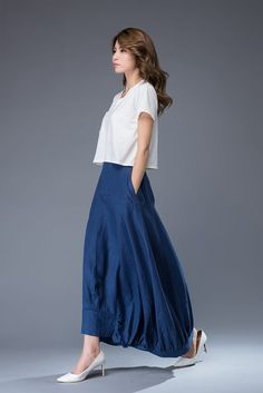 138088f1b6a1 Blue Maxi Linen Skirt - Modern Contemporary Casual Comfortable Everyday  Designer Woman's Skirt C950 Vita Skjortor