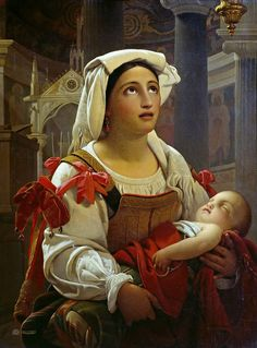 Maes , Jan Baptist Lodewyck - Roman woman with her child. 1837 | da ros_with_a_prince