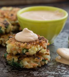 crispy cauliflower carrot fritters with smoky garlic aioli.