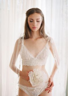 Bellaire Bralette – Claire Pettibone Heirloom Boutique. Elegant and simple bridal boudoir outfit.