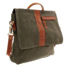 LECONI Umhängetasche Messenger Bag Herren Damen Canvas Leder grün LE3010