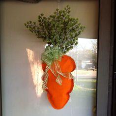 burlap carrot easter door decor