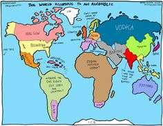 A world map according to alcoholics