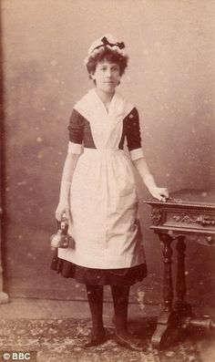 A 'Tweeny' servant who worked seven days a week, from 5am until 10pm, and was paid £13 a year.