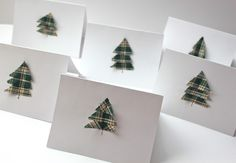 Smashed Peas and Carrots: Scrappy Holiday Cards {An Easy Tutorial} - cut three triangles of fabric, lay them down overlapping, stitch one line through the center of them, where the trunk would be. DONE!