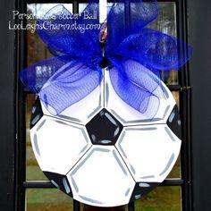 Door Hanger Soccer Ball Soccer Sports Wall Decor by LooLeighsCharm, $45.00