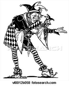 "My jester for the play will have a three pronged hat analogous to this picture. The remaining pictures proceeding this are close to what I am envisioning for my production.""  -IK  This jester - Google Search"