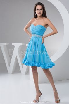 Blue A-Line Hourglass Sleeveless Homecoming Dress