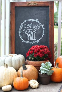 fall front porch w/chalkboard