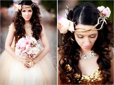 Lovely and whimsical bridal headpiece - perfect for a daringly fashionable bride at a garden wedding!