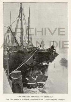 The damaged steamer Crathie. Published by The Illustrated London News, feb 9, 1895
