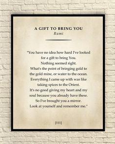 A Gift to Bring You Poem, Classic Poem Art Print, Poetry Wall Art, Literary Art Print, Custom Art Print, Rumi Print