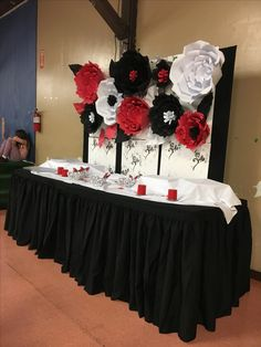 Paper Flower Backdrop Red White And Black Flowers Party Decoration Candy Table