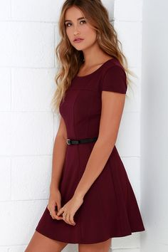 0f48b6b98 Get a little romantic in the Lingering Kiss Burgundy Dress! Medium-weight  knit fabric