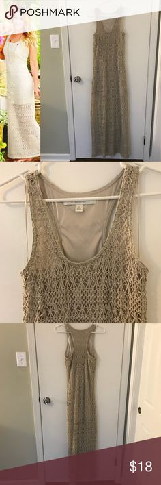 Lauren Conrad long crochet dress Beautiful tan crochet dress. The lining is the same color, but stops above the knee. Good used condition. LC Lauren Conrad Dresses Maxi