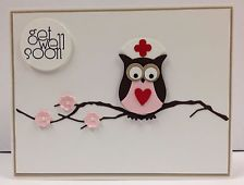 Owl Nurse Punch Art Stampin Up Get Well Card Kit (5 cards)