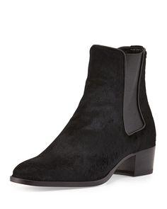 Yves Saint Laurent Wyatt Calf-Hair Boot, Black, Women's, Size: 37.5B/7.5B, Nero