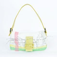 """Fendi white cotton pink/green/yellow stripe bead detail yellow snake trim baguette. 10""""Wx6""""Hx2""""D. Handle drop 7""""."""