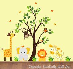 safari children's wall decals   Baby Nursery Wall Decals Safari Jungle Childrens Themed 83″ X 97 ...