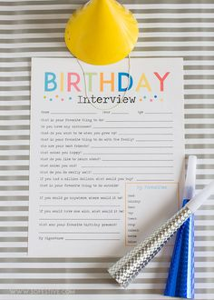 Most Adorable Birthday Interview Printable - A Birthday Tradition birthday-interview-questions-free-printablebirthday-interview-questions-free-printable Third Birthday, 4th Birthday Parties, Baby Birthday, Free Birthday, Birthday Book, Girls Slumber Parties, Birthday Crafts, Special Birthday, Birthday Interview Questions