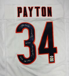 Walter Payton Autographed Chicago Bears White Jersey With Stats PSA/DNA
