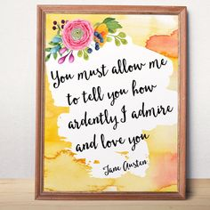 Jane Austen quote print Large poster Bedroom decor by AlniPrints Love wall art Love printable art Love quote Love by AlniPrints #romantic #Valentine #day #print #large #quote #love #DIY #handmade #printable #wife #boyfriend #girlfriend #quote #card #husband #for #her #him #unique #Valentines #idea