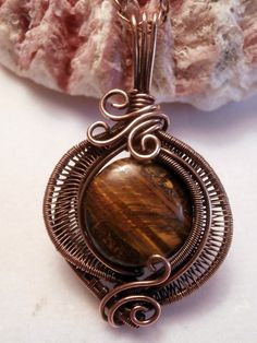 Reserved / Sold Tiger Eye in Copper by PerfectlyTwisted on Etsy Wire Pendant, Wire Wrapped Pendant, Wire Wrapped Jewelry, Pendant Jewelry, Jewelry Tools, Metal Jewelry, Jewelry Crafts, Jewelry Making, Tiger Eye Jewelry