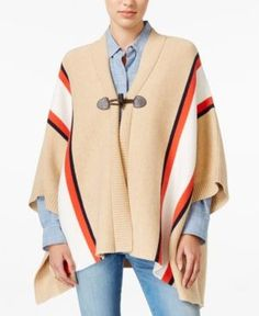 Tommy Hilfiger Striped Cape, Only at Macy's - Tan/Beige