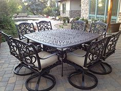 Heritage Outdoor Living Santa Monica Cast Aluminum 9pc Dining Set 64x64 SQ Table  Antique Bronze ** Click image to review more details.(This is an Amazon affiliate link and I receive a commission for the sales)