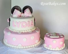 Minnie Mouse 1st Birthday Cake + Smash Cake.  Click over for more details and pictures!