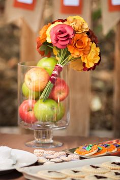 Pretty centerpiece at a Fall Bridal Shower!  See more party ideas at CatchMyParty.com!  #partyideas #fallwedding