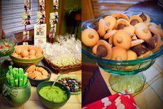 Woodland Party food: Acorn kiss cookies, Moss log pretzels, Cherry tomato and mozzarella mushrooms, and make Terrariums!