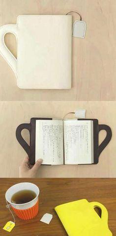 """custodia per libri a forma di tazza, con segnalibro """"da bustina da te"""" incorporato!"""