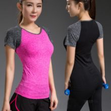 3f9feeaac3  Visit to Buy  Quick Drying Elastic Patchwork Slim Fit Yoga Tops Women Sport  T-shirt Gym Clothing For Fitness Shirt Training Running T-shirts