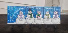 Personalized Family Art Snowman Canvas by theRedheadedArtist Mini Canvas, Canvas Art, Blank Canvas, Canvas Paintings, Christmas Canvas, Christmas Paintings, Keepsake Crafts, Winter Art, Custom Art