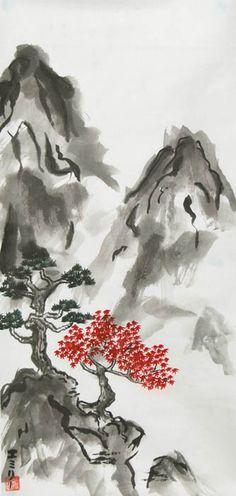 Sumi-e mountain by Lunael