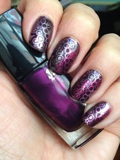 Amethyst Brune by Lancôme, stamped in 3 metal colors by Bissu. Stamping plate: Cici&Sisi #stamping #nailstamping #nails