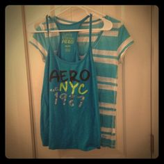 Cute summer aero bundle☀️ 2 cute Aeropostale shirts light , airy and perfect for summer! The tank is medium and the tee is large. Aeropostale Tops