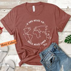✈️ An Inspirational Travel T-shirt for the Travel Junkie, Nomad and Gap Year Traveler ✈️ An adventure shirt Adventure Time Shirt, Adventure Awaits, Cute Shirt Designs, Collar Designs, Travel Shirts, Vinyl Shirts, Quality T Shirts, Cute Tshirts, Graphic Shirts