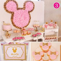 Pink & Gold Minnie Mouse Birthday 8:)