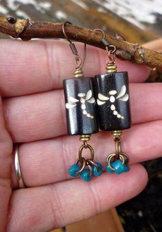 Dragonfly wood earrings Teal Coconut beads by McKeeJewelryDesigns, $16.00