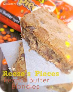 Mini Reese's Pieces Peanut Butter Blondies from sixsistersstuff.com.