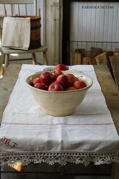 FARMHOUSE 5540: Red Stripe Linens - Simplicity at its best! Pinned for image.