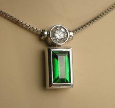 Tsavorite with Diamond Pendant 18k White Gold