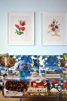 Bright blue floral couch