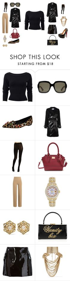"""""""Day to night option #2 : The black sweater"""" by edith-a-giles ❤ liked on Polyvore featuring Donna Karan, Gucci, Dolce&Gabbana, Wanda Nylon, Anna Sui, Emilia Wickstead, Rolex, Fred Leighton, Moschino Cheap & Chic and Au Jour Le Jour"""