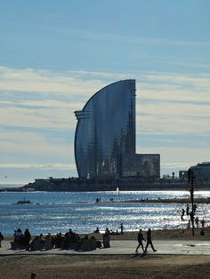 A view up the sea front in Barcelona towards the W Barcelona [shared] (Catalunya - Catalonia)