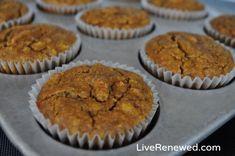 grain-free banana muffins: eggs, coconut oil, maple syrup, bananas, salt, vanilla, coconut flour, baking soda, cinnamon, nutmeg. #paleo